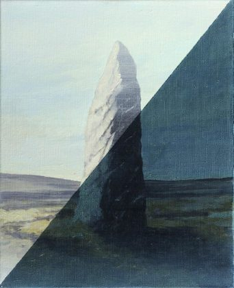 Menhir jour/nuit, 2013, Acrylic and oil on canvas, 33 x 41 cm<br />