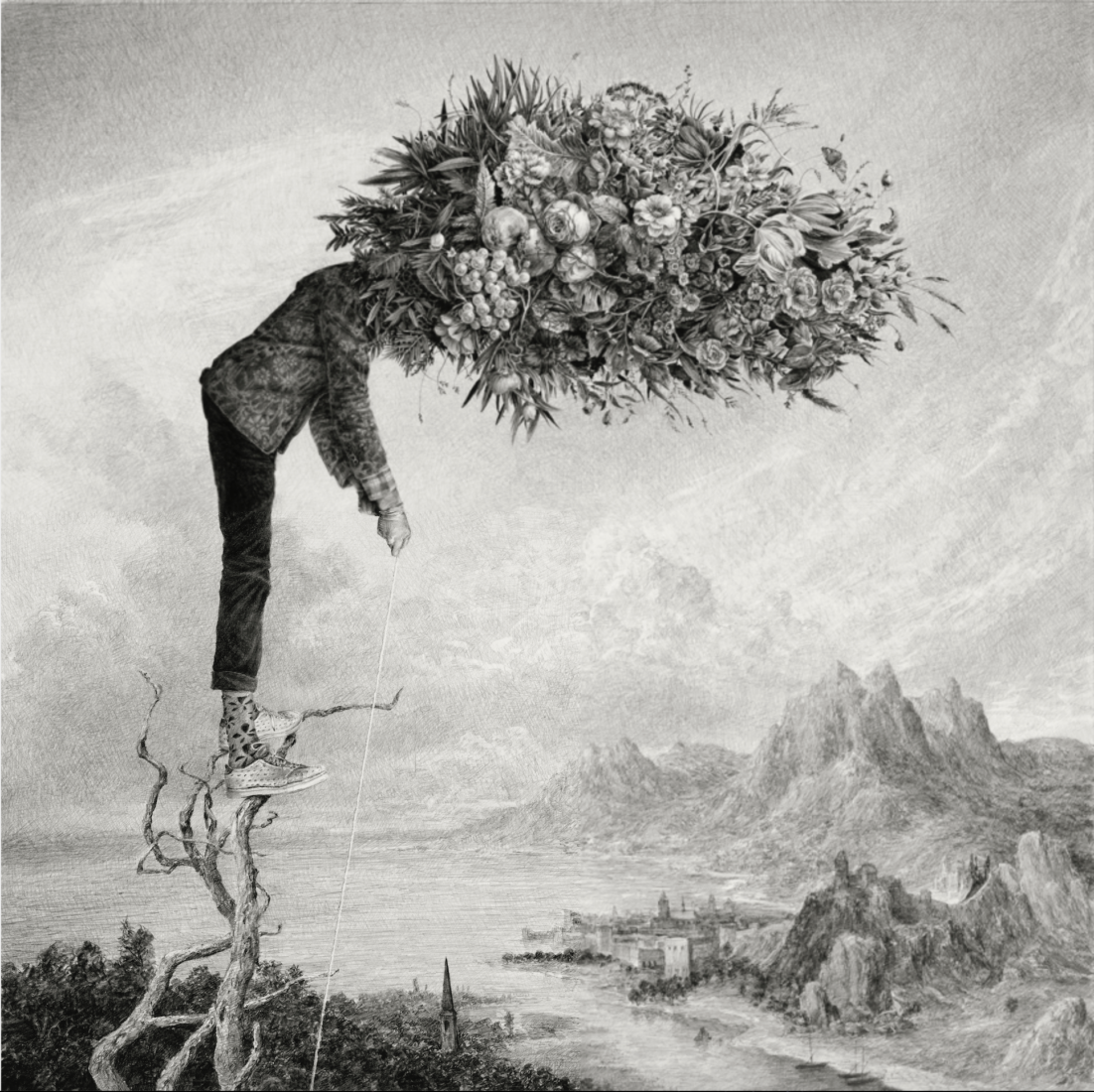 The Gleaner, 2021<br /> Graphite on paper <br /> 90 x 90 cm